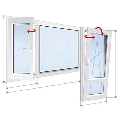A: окно с 2 частями + дверь