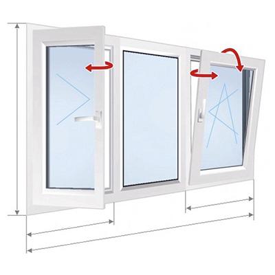 B: окно с 3 частями