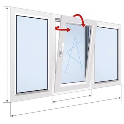 F: окно с центральной секцией наклона